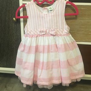 soft pink and white cotton striped dress